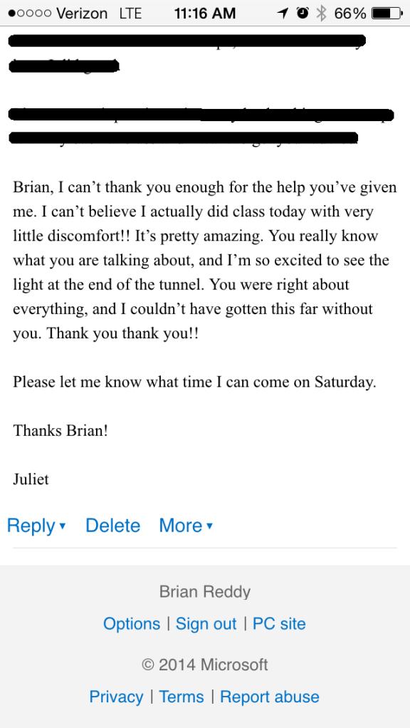 Juliet Davenport Knee Testimonial