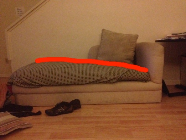 Lower back pain couch with line