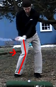 Chris golf swinging right leg with lines