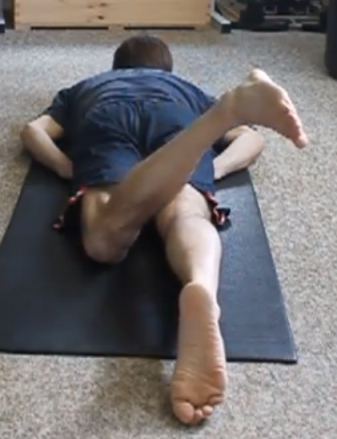 Chris prone left leg external rotation