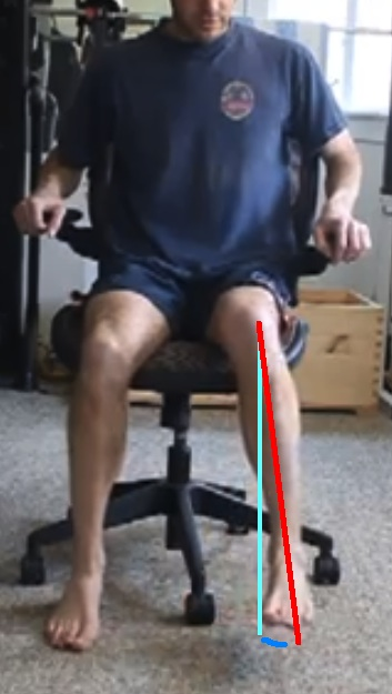 Seated hip internal range of motion with lines