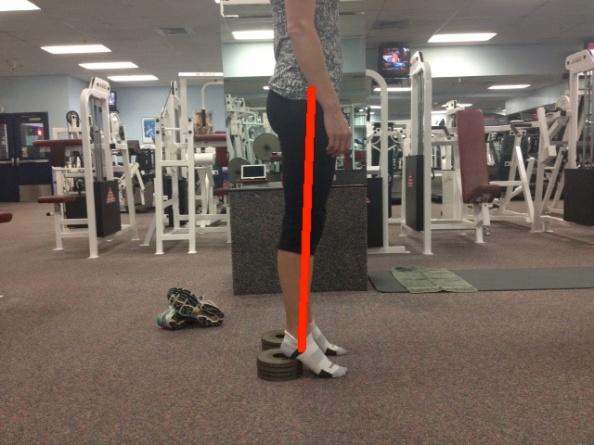 Standing big heel lift with line