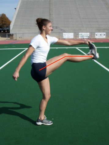 Frankenstein walk hamstring flexibility with lines