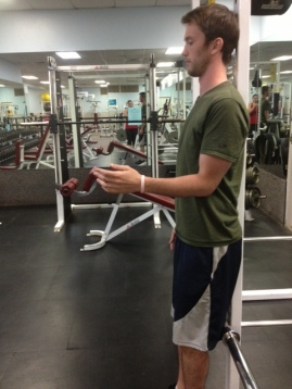 Standing arm raise from flexion bottom portion