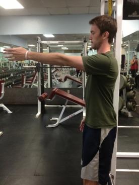 Straight arm arm raise mid point