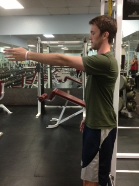 Straight arm arm raise mid point