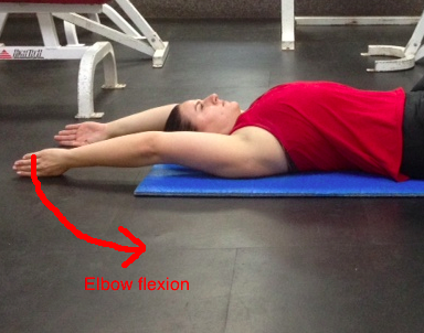 Supine arm raise slide elbow flexion