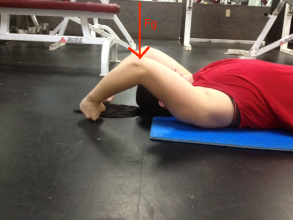 Supine Arm Raise slide half way up with gravity line
