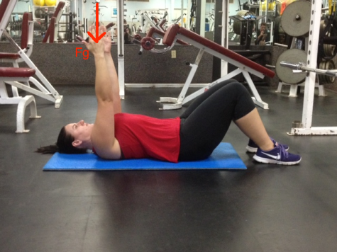 Supine Arm raise straight arm mid point with gravity line