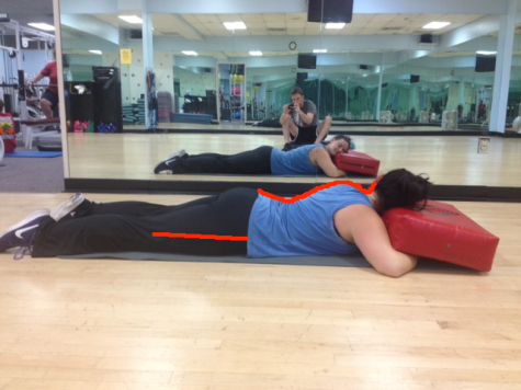 Sarah on stomach swayback connection with upper and lower lines