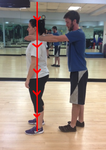 Standing gravity stress assessment good posture with arrows