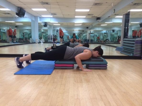 Aerobic step push ups 1