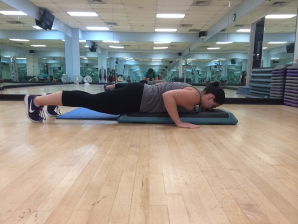 Aerobic step push ups 3