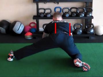 Split Stance Adductor with hip to shoulder lines
