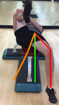 Supine hip extension with three lines