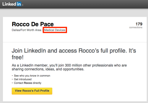 Rocco DePace LinkedIn with box