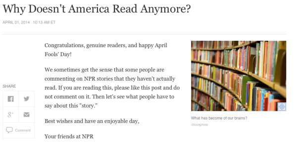 NPR why doesn't america read