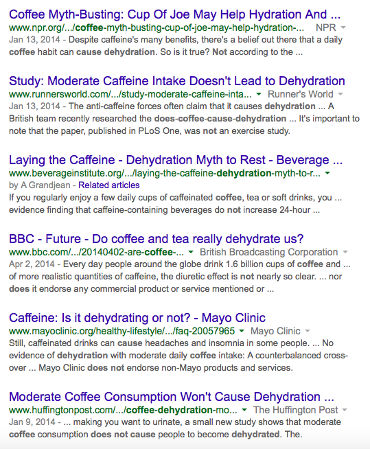 Coffee links no dehydration