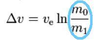 Rocket equation close up with circle
