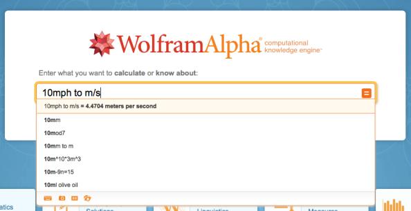WolframAlpha easy conversion