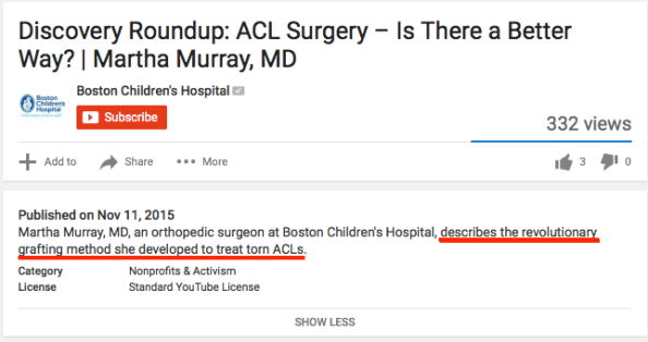 Boston Children's Youtube revolution ACL