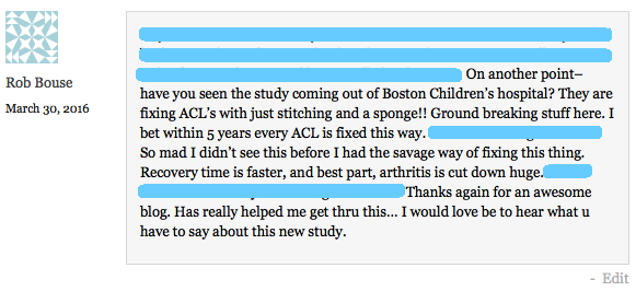 Rob ACL new surgery comment some blocked out